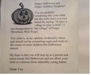 Fat Shaming Halloween Letter