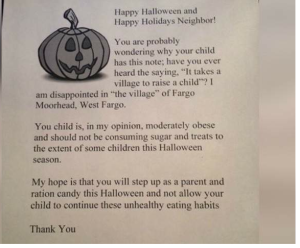 Fat Shaming Halloween Letter