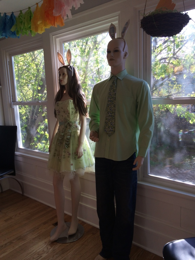 Mannequins in Easter clothers